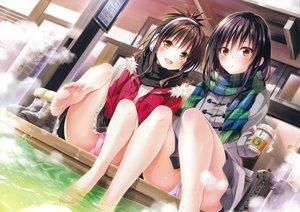 Rating: Questionable Score: 545 Tags: 2girls barefoot black_hair brown_hair drink kotegawa_yui loli panties scan to_love_ru to_love_ru_darkness underwear wet yabuki_kentarou yuuki_mikan User: kazuto