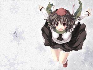 Rating: Safe Score: 30 Tags: brown_eyes brown_hair hat scarf shameimaru_aya skirt tateha touhou User: Oyashiro-sama