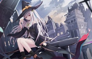 Rating: Safe Score: 138 Tags: animal boots building cat city clouds hat kneehighs long_hair original ponytail red_eyes ruins skirt sky staff touhourh weapon white_hair witch witch_hat User: 蕾咪