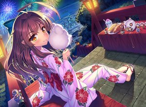 Rating: Safe Score: 69 Tags: anthropomorphism blush bow brown_hair building candy cat_smile city fang fireworks food japanese_clothes kantai_collection kuma_(kancolle) long_hair night orange_eyes ton-chan yukata User: luckyluna