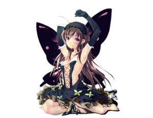 Rating: Safe Score: 319 Tags: accel_world barefoot brown_hair butterfly dress elbow_gloves gloves hasshin_aki_ichi headdress kuro_yuki_hime long_hair no_bra purple_eyes white wings User: Kumacuda