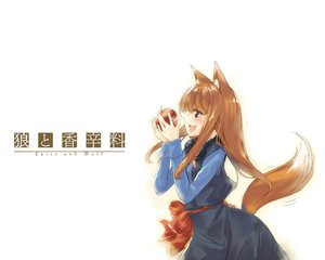 Rating: Safe Score: 26 Tags: animal_ears apple dress fang food fruit horo long_hair ookami_to_koushinryou orange_hair red_eyes tail white wolfgirl User: 秀悟