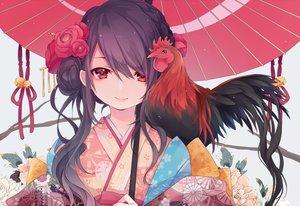 Rating: Safe Score: 62 Tags: animal bell bird black_hair braids close flowers japanese_clothes kimono kuroi_(liar-player) long_hair original red_eyes umbrella waifu2x User: ssagwp