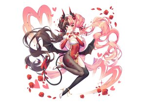 Rating: Safe Score: 55 Tags: albinoraccoon blush breasts brown_hair chinese_clothes chinese_dress cleavage dress fang flowers heart horns long_hair orange_eyes original pantyhose petals pink_hair pointed_ears ribbons rose signed tail thighhighs twintails white wings User: otaku_emmy
