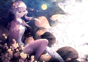 Rating: Safe Score: 89 Tags: flowers long_hair lyodi purple_hair stars thighhighs twintails vocaloid yuzuki_yukari User: Flandre93