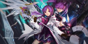 Rating: Safe Score: 124 Tags: aisha_(elsword) building dress elsword gloves long_hair purple_eyes purple_hair staff swd3e2 thighhighs twintails User: Flandre93