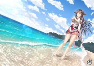 Rating: Safe Score: 151 Tags: anthropomorphism barefoot beach black_hair breasts brown_eyes clouds forest haruna_(kancolle) japanese_clothes kantai_collection kisaki_ryou long_hair miko sky tree water watermark User: RyuZU