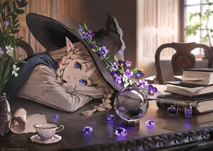 Rating: Safe Score: 70 Tags: blue_eyes book braids brown_hair flowers hat leaves long_hair original paper pointed_ears shirt signed sunako_(veera) witch witch_hat User: BattlequeenYume