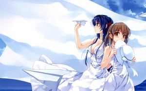 Rating: Safe Score: 86 Tags: 2girls abhar blue_eyes blue_hair blush bow breasts brown_eyes brown_hair cleavage clouds deep_blue_sky_&_pure_white_wings dress hat koga_sayoko long_hair misaki_kurehito no_bra ribbons short_hair sky summer_dress tsuyazaki_kokage User: HawthorneKitty