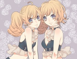 Rating: Safe Score: 31 Tags: 2girls blue_eyes brown_hair choker kirara0088 original short_hair twintails User: FormX