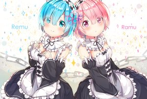 Rating: Safe Score: 46 Tags: 2girls blue_eyes blue_hair blush breast_hold breasts cleavage dress maid pink_eyes pink_hair ram_(re:zero) rem_(re:zero) re:zero_kara_hajimeru_isekai_seikatsu ribbons short_hair tagme_(artist) twins User: BattlequeenYume