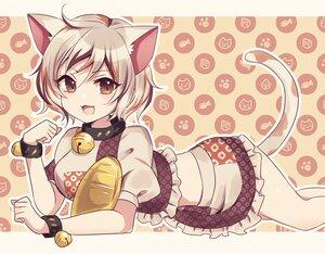 Rating: Safe Score: 44 Tags: animal_ears bell brown_eyes catgirl cat_smile collar fang goutokuji_mike gray_hair short_hair skirt subaru_(subachoco) tail touhou wristwear User: otaku_emmy