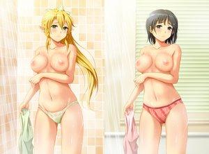 Rating: Questionable Score: 447 Tags: breast_hold breasts kirigaya_suguha leafa navel nipples panties pointed_ears shian_(my_lonly_life.) shower sword_art_online underwear wet User: opai