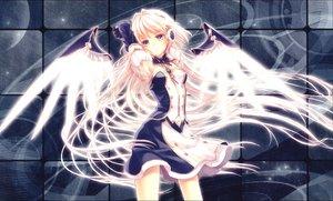 Rating: Safe Score: 102 Tags: angel blonde_hair blue_eyes dress headphones long_hair original wings yashiro_seika User: mikulover