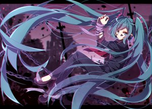Rating: Safe Score: 46 Tags: blue_eyes blue_hair bondage building chain hatsune_miku headphones long_hair rolling_girl_(vocaloid) ruins tagme_(artist) twintails vocaloid User: BattlequeenYume