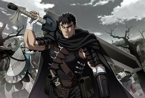 Rating: Safe Score: 17 Tags: all_male animal armor bandage berserk black_eyes black_hair cape clouds guts horse knife male nyoronyoro short_hair sky sword tree weapon wink User: RyuZU