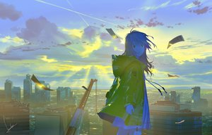 Rating: Safe Score: 28 Tags: building city clouds dress hoodie landscape long_hair loundraw original rooftop scenic signed sky summer_dress User: RyuZU