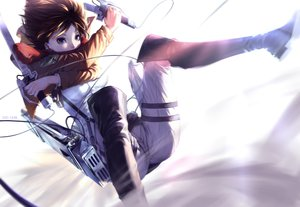 Rating: Safe Score: 366 Tags: black_eyes boots brown_hair cici mikasa_ackerman scarf shingeki_no_kyojin short_hair sword weapon white User: FormX