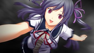 Rating: Safe Score: 58 Tags: akatsuki-works game_cg izuna_zanshinken purple_hair red_eyes ribbons school_uniform tagme_(character) User: Maboroshi