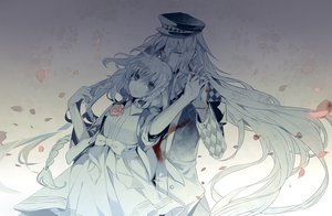 Rating: Safe Score: 85 Tags: amnesia blood dhiea dress flowers hat heroine_(amnesia) long_hair petals ribbons short_hair tears ukyo_(amnesia) User: Maboroshi