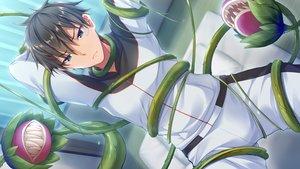 Rating: Safe Score: 7 Tags: all_male aqua_eyes bandaid black_hair bug_system daichi_shoutarou flowers game_cg haze_man_-_the_local_hero_- kyou_(kurifuto) male short_hair tentacles User: RyuZU