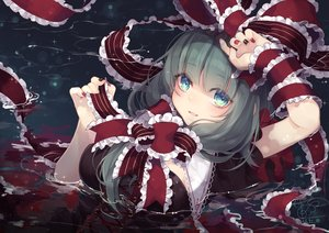 Rating: Safe Score: 78 Tags: bow breasts dress green_eyes green_hair kagiyama_hina long_hair ribbons signed touhou toutenkou water User: BattlequeenYume