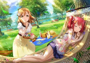 Rating: Safe Score: 47 Tags: 2girls apple barefoot book brown_hair cake clouds dress drink flowers food fruit grass hat kunikida_hanamaru kurosawa_ruby love_live!_school_idol_project love_live!_sunshine!! orange_eyes park petals red_hair scenic short_hair sky sleeping strawberry tagme_(artist) tree twintails water User: RyuZU