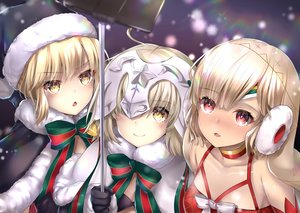 Rating: Safe Score: 86 Tags: artoria_pendragon_(all) attila_(fate/grand_order) bikini_top blonde_hair bow camera cape choker christmas earmuffs fate/grand_order fate_(series) gloves hane_yuki hat headdress jeanne_d'arc_alter jeanne_d'arc_alter_santa_lily jeanne_d'arc_(fate) loli long_hair phone red_eyes saber saber_alter santa_hat short_hair snow yellow_eyes User: otaku_emmy