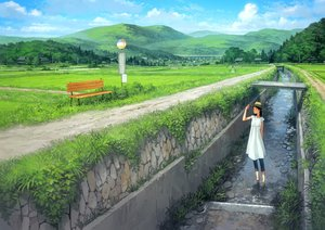 Rating: Safe Score: 34 Tags: black_hair clouds dress hat jpeg_artifacts landscape original scenic sky summer_dress water yoshida_seiji User: mattiasc02