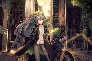 Rating: Safe Score: 94 Tags: aek-999 animal anthropomorphism bird building city girls_frontline gray_hair long_hair motorcycle ruins scenic tagme_(artist) yellow_eyes User: BattlequeenYume