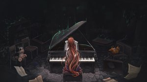 Rating: Safe Score: 71 Tags: bow dark doki_doki_literature_club! instrument long_hair monika_(ddlc) paper piano ponytail red_hair signed tagme_(artist) User: BattlequeenYume