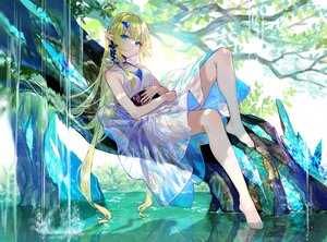 Rating: Safe Score: 95 Tags: aqua_eyes barefoot dress fuji_choko green_hair long_hair original pointed_ears shade tree water waterfall User: BattlequeenYume