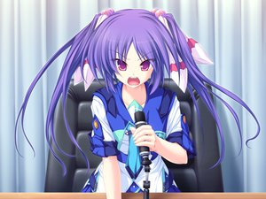 Rating: Safe Score: 10 Tags: 77 blue_hair game_cg long_hair microphone mikagami_mamizu narukami_aoi purple_eyes seifuku whirlpool User: ホタル