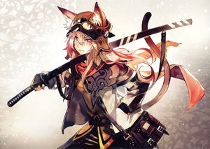 Rating: Safe Score: 110 Tags: animal_ears banpai_akira catgirl gloves goggles long_hair pink_eyes pink_hair scan scarf sword tail weapon User: RyuZU