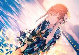 Rating: Safe Score: 233 Tags: brown_hair flowers hiten_goane_ryu japanese_clothes orange_eyes original sky sunset water yukata User: sadodere-chan