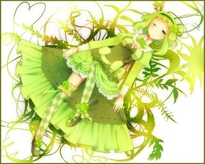 Rating: Safe Score: 69 Tags: achiki bow cleavage dress flowers green green_eyes green_hair gumi headband rose thighhighs vocaloid wink User: opai