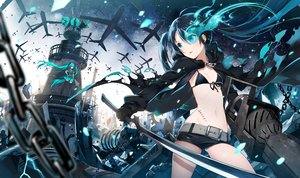 Rating: Safe Score: 22 Tags: black_rock_shooter hatsune_miku koi_wa_sensou_(vocaloid) kuroi_mato long_hair twintails vocaloid waifu2x yunco User: luckyluna