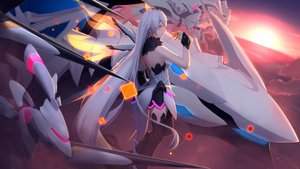Rating: Safe Score: 107 Tags: clouds dress gloves honkai_impact kiana_kaslana long_hair mecha mechagirl orange_eyes sky sunset thighhighs white_hair wings yuuta_(806350354) User: otaku_emmy
