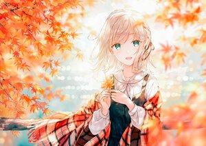 Rating: Safe Score: 105 Tags: autumn blonde_hair blush braids dress green_eyes hiten_goane_ryu leaves original shirt short_hair tree water User: BattlequeenYume