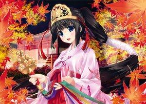 Rating: Safe Score: 63 Tags: autumn bell black_hair blue_eyes blush headdress japanese_clothes leaves long_hair miko original ponytail scan shintaro User: mattiasc02