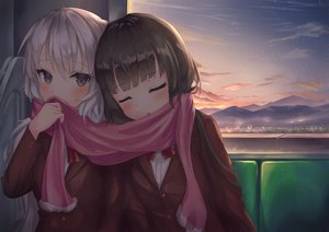 Rating: Safe Score: 52 Tags: 2girls dark gray_hair long_hair original parfait_fate school_uniform shoujo_ai sleeping sunset User: Fepple