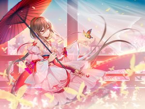 Rating: Safe Score: 145 Tags: bow brown_hair building butterfly chinese_clothes chinese_dress dress headdress lolita_fashion long_hair red_eyes ribbons sky tidsean umbrella vocaloid vocaloid_china wristwear yuezheng_ling User: BattlequeenYume