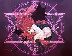 Rating: Safe Score: 102 Tags: abe_kanari bloomers demon koakuma long_hair magic pointed_ears red_hair touhou wings User: opai