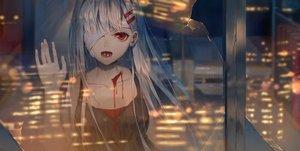 Rating: Safe Score: 118 Tags: bandage blood building city eyepatch ji_dao_ji long_hair night original red_eyes reflection white_hair User: BattlequeenYume