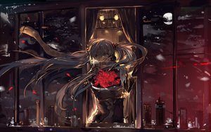 Rating: Safe Score: 210 Tags: black_eyes black_hair flowers hatsune_miku long_hair moon night petals rose saberiii scarf snow twintails vocaloid User: FormX