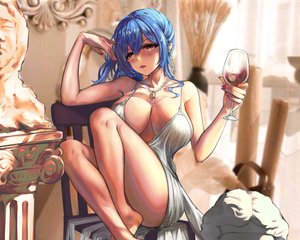 Rating: Questionable Score: 47 Tags: anthropomorphism azur_lane barefoot blue_hair breasts brown_eyes but cropped drink necklace st._louis_(azur_lane) User: mattiasc02