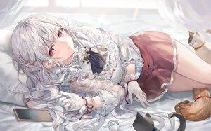 Rating: Safe Score: 31 Tags: animal cat gloves gray_hair long_hair momoko_(momopoco) original phone purple_eyes ribbons shirt skirt User: Fepple