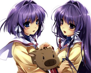 Rating: Safe Score: 128 Tags: animal blue_eyes botan clannad fujibayashi_kyou fujibayashi_ryou long_hair misaki_kurehito purple_eyes purple_hair ribbons seifuku short_hair User: Wiresetc