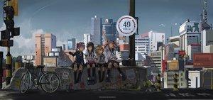 Rating: Safe Score: 83 Tags: akebono_(kancolle) anthropomorphism bicycle building city clouds group kantai_collection novelance oboro_(kancolle) sazanami_(kancolle) school_uniform sky ushio_(kancolle) User: Flandre93