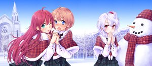 Rating: Safe Score: 18 Tags: komorebi_no_kuni red_hair scarf seifuku snow tokunou_shoutarou wink User: HawthorneKitty